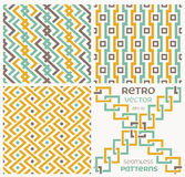 Set of vector seamless textures in retro style. Royalty Free Stock Photo