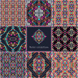 Set of vector seamless textures with tribal geometric pattern and frame. Electro boho color trend. Aztec ornamental style. Ethnic native American Indian royalty free illustration