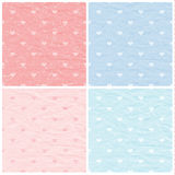 Set of vector seamless vintage patterns. Paper with hearts. Love background Stock Photos