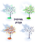 Set of vector seasonal trees Stock Photography