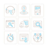 Set of vector service or support icons and concepts in mono thin line style Stock Photo
