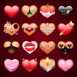 Set of Vector Sex Hearts Icons. For Erotic Projects. Clipping paths included in additional jpg format Stock Photos