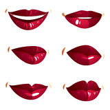 Set of vector sexy female red lips expressing different emotions Stock Photos