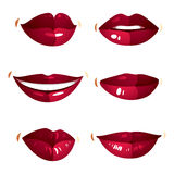 Set of vector sexy female red lips expressing different emotions Stock Photo