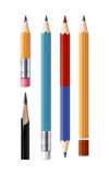 Set of vector sharpened pencils of various types and lengths, with an eraser and without it Stock Photography
