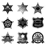 Set of vector sheriff or marshal badges and stars Royalty Free Stock Image