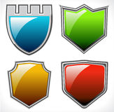 Set of vector shields. With glossy reflections Stock Photo
