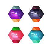 Set of vector shiny blank boxes for your content. Abstract geometric elements suitable for text or infographics Royalty Free Stock Image