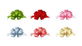 Set of  gift bows.  Concept for invitation, banners, gift cards, congratulation or website layout vector. Stock Images