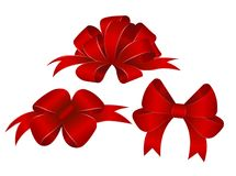 Set of Vector Shiny Red Satin Gift Bows Close up Stock Photo