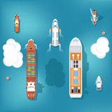 Set of vector ships. Top view Royalty Free Stock Photo