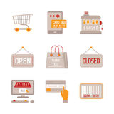 Set of vector shopping icons and concepts in flat style Stock Image