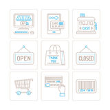 Set of vector shopping icons and concepts in mono thin line style.  Royalty Free Stock Images