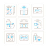 Set of vector shopping icons and concepts in mono thin line style.  Stock Images
