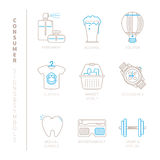 Set of vector shopping icons and concepts in mono thin line style.  Royalty Free Stock Photos