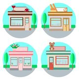 Set of vector shops in a flat style royalty free illustration
