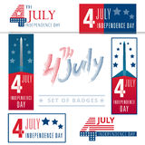 Set of vector signs, badges and banners for the 4-th of july cel. Ebration in the usa with stars and stripes Stock Photos