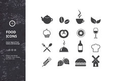 Set of Vector Signs of Food, Bakery and Beverage Stock Image