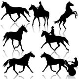 Set vector silhouette of horse and jockey Royalty Free Stock Photos