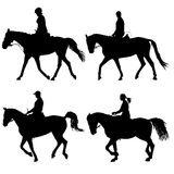 Set vector silhouette of horse and jockey Royalty Free Stock Photo