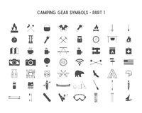 Set of Vector silhouette icons and shapes with different outdoor gear, camping symbols for creating adventure logotypes vector illustration