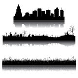 Set of vector silhouettes. Set of vector city, grass and graveyard silhouettes Royalty Free Stock Photos