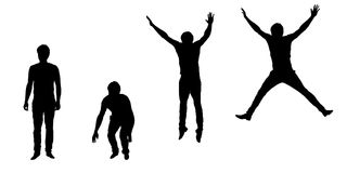 Set of vector silhouettes of jumping young man vector illustration