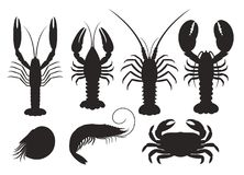 Set of vector silhouettes lobster, crab. EPS 10. Vector illustration Royalty Free Stock Images