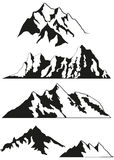 Set of vector silhouettes of the mountains Royalty Free Stock Photo