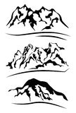 Set of vector silhouettes of the mountains  on white. Royalty Free Stock Photos