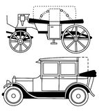 Set of vector silhouettes of old cars Stock Image