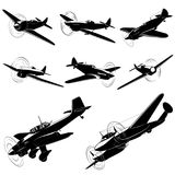 Vector silhouettes of old fighters Stock Image
