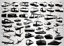 Set of vector silhouettes of passenger transport. On a white background Stock Photo