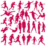 Set of vector silhouettes of people in sports. Collection of vector silhouettes of people in sports action Stock Images