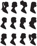 Set of vector silhouettes. Portrait of a woman in a profile with Stock Image