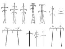 Set of vector silhouettes of pylons power line. Set of vector silhouettes of high voltage electric transmission line tower, isolated on white Royalty Free Stock Photos