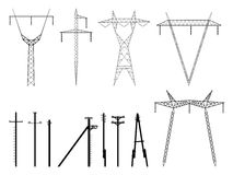 Set of vector silhouettes of pylons power line. Set of vector silhouettes of high voltage electric transmission line tower, isolated on white Stock Photos