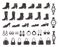 Set of vector silhouettes: shoes and accessories. Stock Photo
