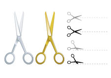 Set of vector silver and gold scissors Stock Images