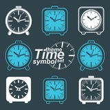 Set of vector simple elegant inverse table clocks. Royalty Free Stock Image