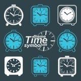 Set of vector simple elegant inverse table clocks. royalty free illustration