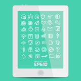 Set vector simple icon in Doodle Royalty Free Stock Images