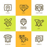 Set of vector simple linear travel icons. Map symbols, waypoint, Stock Photo