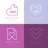 Set of vector simple logo design template. Paper love letter, he Stock Photos