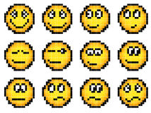 Set of vector simple yellow pixel smiley. Royalty Free Stock Photography