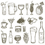 Set of vector Sketch Cocktails and Alcohol Drinks Stock Images