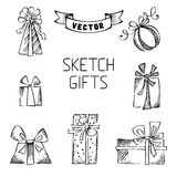 Set of vector sketch gifts. Royalty Free Stock Photography