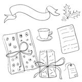 Set of vector sketch gifts. Hand drawn elements for your festive Stock Photos