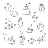 Set of Vector Sketches. Coffee and Tea Royalty Free Stock Photos