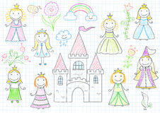 Set of vector sketches with happy little princesses Stock Photo
